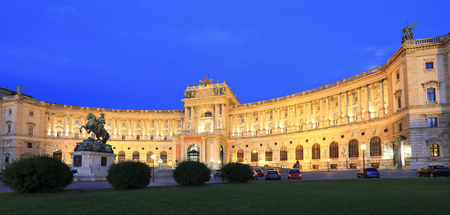Hofburg Imperial Palace at night in Vienna, Austria