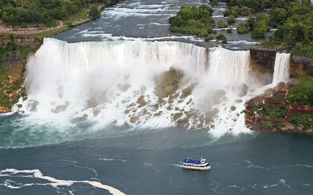 American Falls and Maid of the Mist boat on Niagara River, aerial view Stock Photo