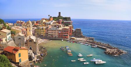 Aerial view of Vernazza vilagge on Mediterranean coast, Cinque Terre, Italy