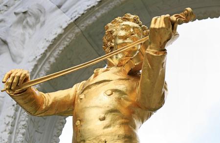 Johann Strauss II statue in Stadtpark, Vienna Editorial