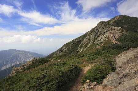 Mount Lincoln trail on Franconia Ridge Traverse, Mount Lafayette area in New Hampshire, USA Stock Photo