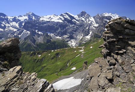 Summer in the Swiss Alps, Murren area, Switzerland