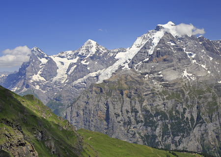 Summer in the Swiss Alps, Murren area, overlooking the Eiger, Monch, Jungfrau and Birg summits