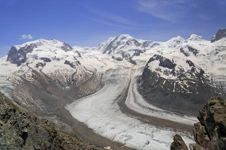 The Gorner Glacier (Gornergletscher) and Monte Rosa in the Alps, Europe
