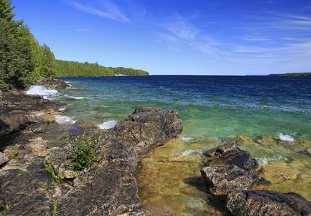 Shore cliffs in Georgian Bay, Lake Huron, Canada Stock Photo