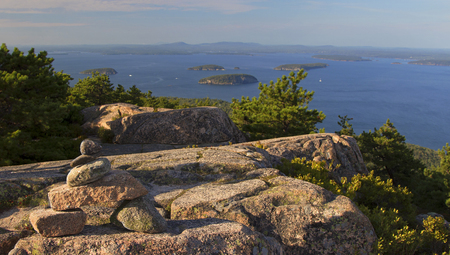 Acadia National Park in Maine, mountain and ocean, USA