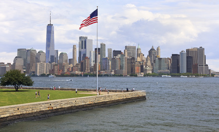 New York City skyline viewed from Ellis Island, USA Stock Photo