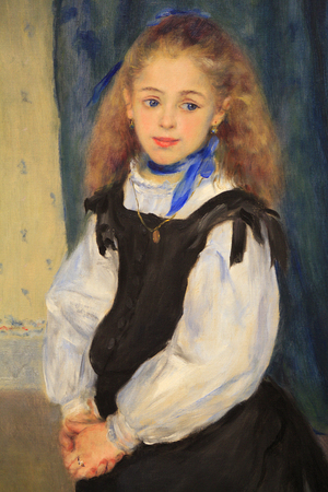 Portrait of of eight year old Mademoiselle Adelphine Legrand,  by Pierre Auguste Renoir, 1875, French impressionist oil painting. During that period, Renoir supported himself with portrait commission.