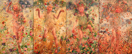 Painted oil canvas by Leon Frederic of Spring, Summer, Autumn and Winter during 1893-1894 period. The four seasons are represented by a child surrounded by flowers and fruits.  Photo-montage concept.