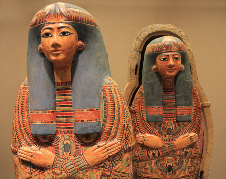 Egyptian colorful wooden  painted sarcophagi