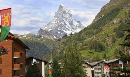 Zermatt hotels, church tower with the Matterhorn on the background