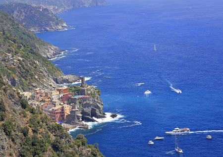 Aerial view of Vernazza vilagge and Mediterranean coast, Cinque Terre, Italy Stock Photo