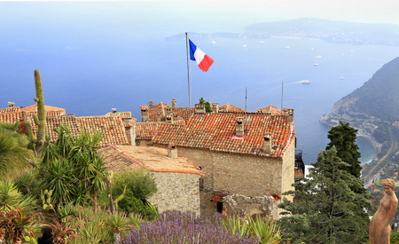 Botanical garden and village of Eze, with various cacti on foreground, aerial view of French Riviera, Europe Stock Photo