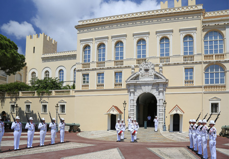 Ceremonial changing of guard at residence of Prince of Monaco. Guards unit was created in 1817 to provide security for the Palace, Sovereign Prince and his family.