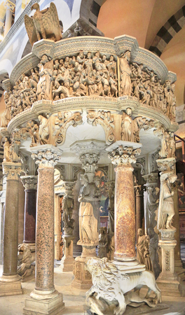 Italian gothic Pulpit by Giovanni Pisano in Pisa Cathedral at Piazza dei Miracoli (Piazza del Duomo).