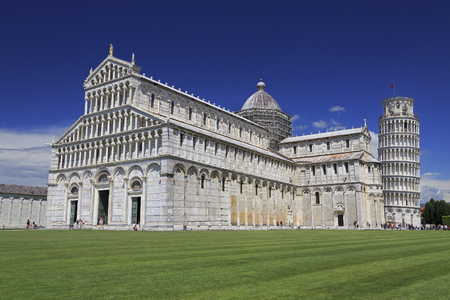 Piazza del Duomo in Pisa, basilica and leaning tower, Italy