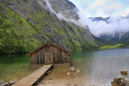 Boat house at Obersee Lake, Bavaria, Germany