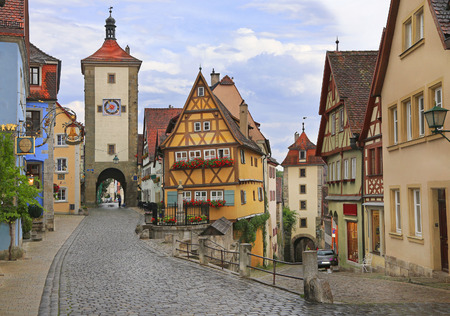 Medieval old street in Rothenburg ob der Tauber , Germany
