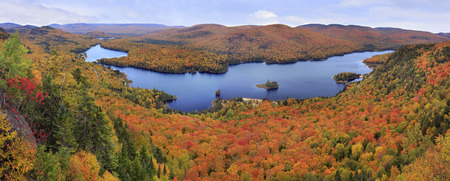 Mont Tremblant National Park panoramic view with autumn colors, Canada Stock Photo