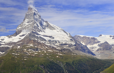 Matterhorn mountain, Zermatt area in Switzerland Stock Photo
