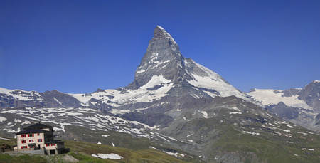 Switzerland Alps, Matterhorn and alpine hotel in Europe