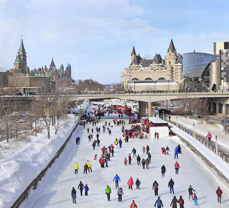 Rideau Canal Ice Skating Rink in winter, Ottawa, Canada Редакционное