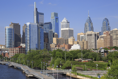 Philadelphia skyline with the river Schuylkill on the foreground, USA