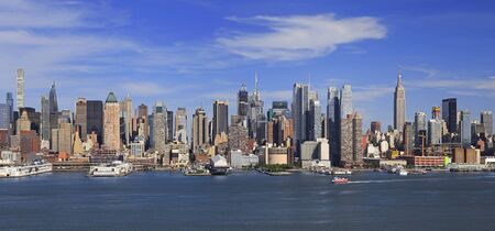 New York City skyline with Hudson River on the foreground, USA Фото со стока
