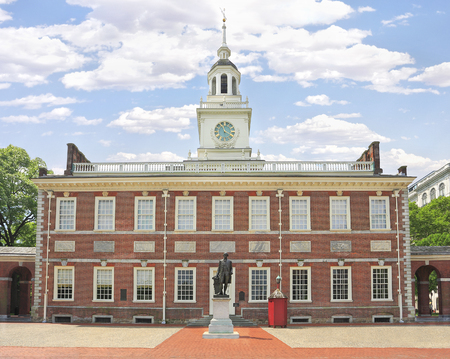 Independence Hall in Philadelphia, Pennsylvania, USA. Distracting poles and chains on the foreground were removed and the building perspective was corrected. Редакционное