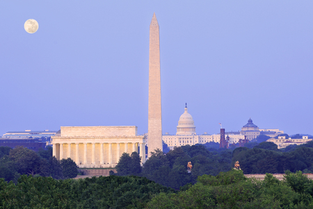 Washington DC skyline at dusk, USA