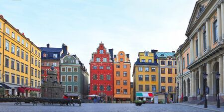 Traditional colorful houses in Stortorget Square, Old Town of Stockholm (Gamla Stan), Sweden