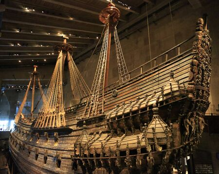The Vasa Museum in Stockholm, Sweden displays the Vasa, a fully recovered 17th century ship