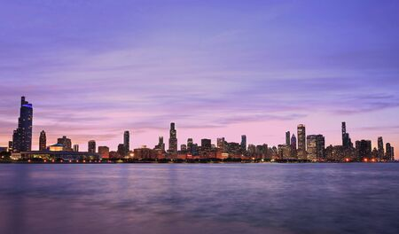 Panoramic view of Chicago skyline at Lake Michigan on the foreground, IL, USA