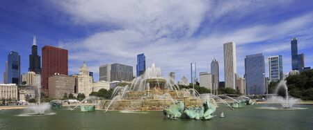Chicago skyline with Buckingham fountain on the foreground