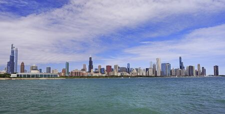 Panoramic view of Chicago skyline with Lake Michigan on the foreground, IL, USA