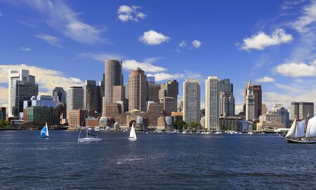 Boston skyline with boats and yachts sailing, Massachusetts, USA