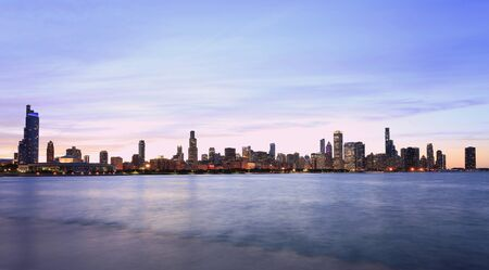 Chicago skyline at Lake Michigan on the foreground, IL, USA