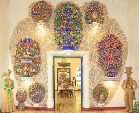 Mexican decorations inspired by Day of Dead celebration and traditional house furniture, Riviera Maya, Mexico Editorial