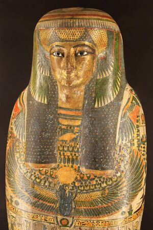 Egyptian Mummies Exhibition Exploring Ancient Lives at Montreal Museum of Fine Arts. Colorful sarcophagus detail of ancient Egyptian women singer.