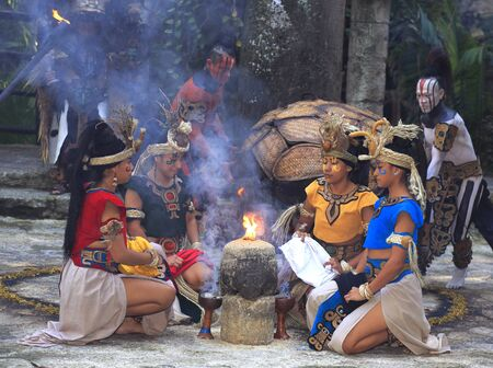 Pre-Hispanic Mayan amerindian people performance into the jungle, Mexico Editorial