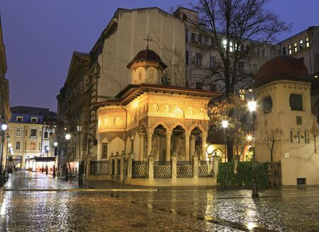 Stavropoleos Church at night, Bucharest. Old town tourist attraction in Romania