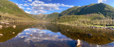 Panoramic view with nice reflections of Lac aux Americains, Gaspesie National Park, Quebec, Canada