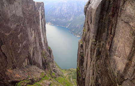 Aerial view of Lysefjord from Kjerag Rock in Norway