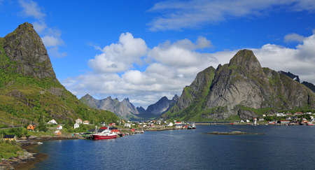 Reine village, fjord and sharp mountains in Lofoten Islands, Norway
