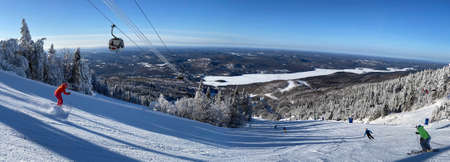 Panoramic view of Mont Tremblant summit, North side in winter ski season, Quebec, Canada