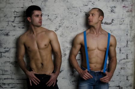 adult sex: Two attractive young guy. Night. Wet body. Stock Photo