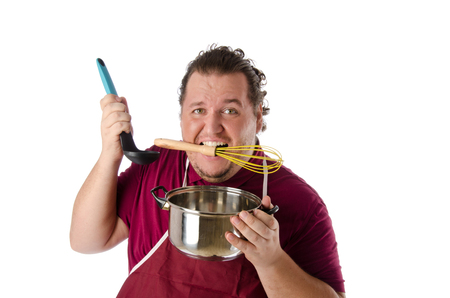hysteria: Help in the kitchen. Stupid Chef. Stock Photo