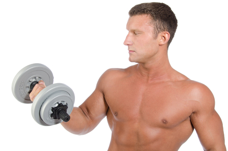 Man training with dumbbells. White background. Fitness and healthy lifestyle. Stock Photo