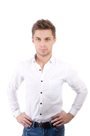 Young attractive businessman. Young handsome man. Business and success. White background 免版税图像
