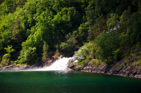 Fjords of Norway. Beautiful views. Beauty, silence and tranquility. Waterfalls Stock Photo
